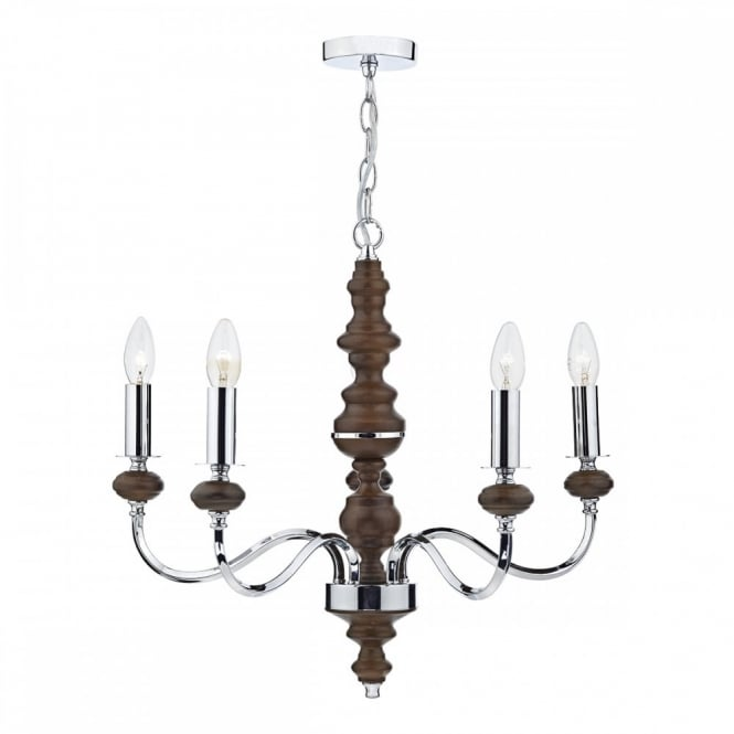 WYATT 5lt pendant chandelier in a dark wood and polished chrome finish