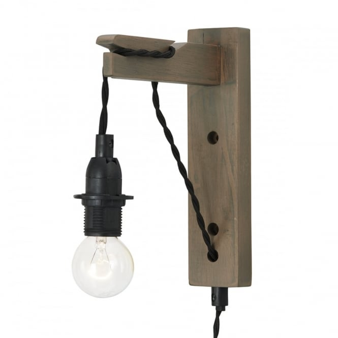 WYNDHAM grey washed wood wall bracket with plugged cable