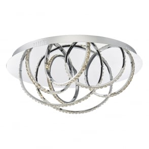 contemporary chrome and crystal LED flush ceiling light  sc 1 st  The Lighting Company & Two Tier Crystal LED Ring Ceiling Pendant with Chrome Frame