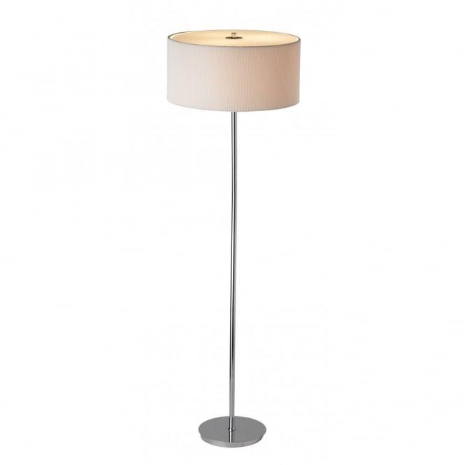 Modern Chrome Floor Standing Lamp With Cream Shade