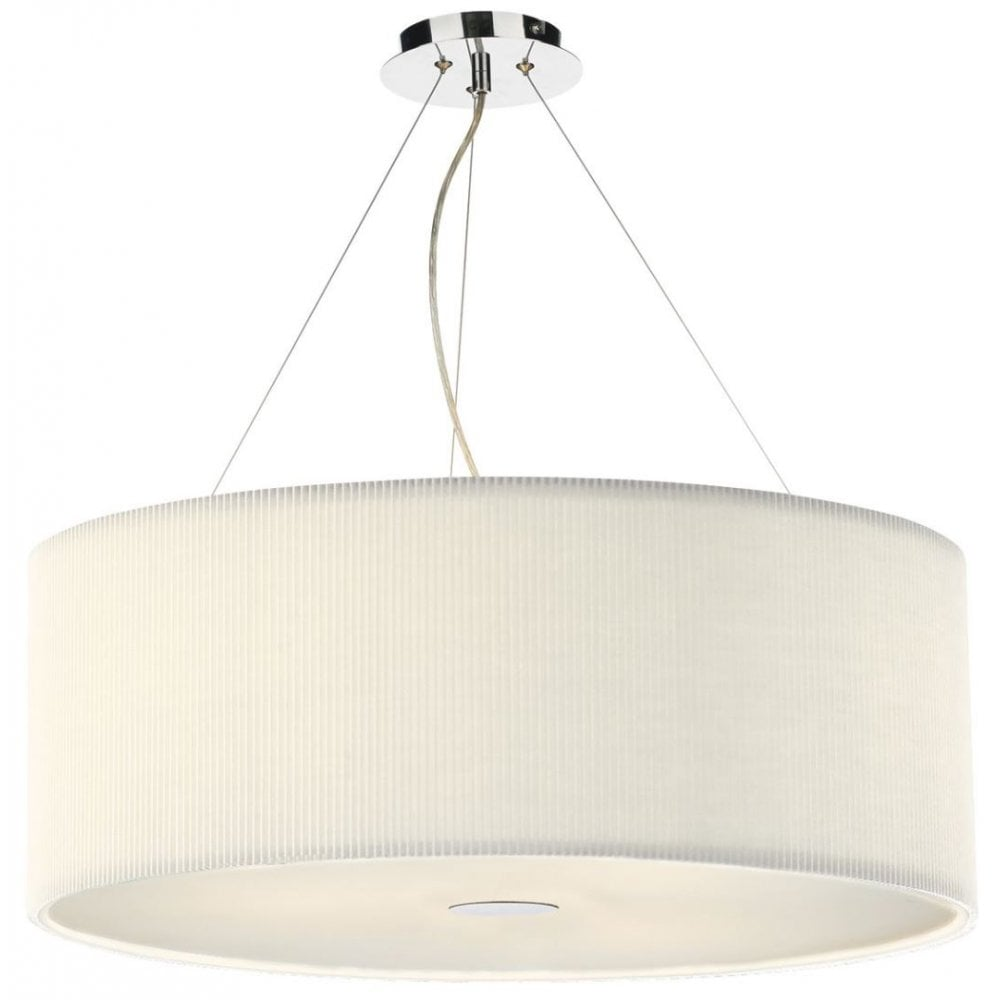 Large Circular Ribbed Cream Ceiling Pendant For High Ceilings
