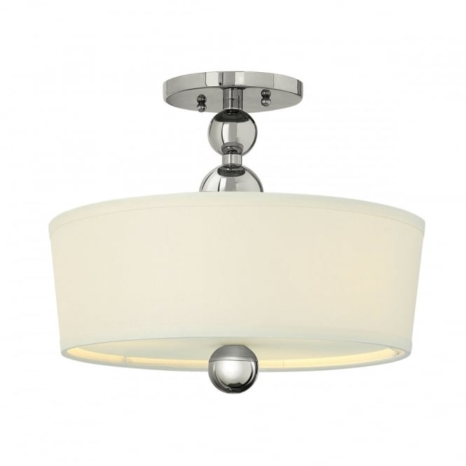 Art deco low ceiling light polished nickel with white drum shade zelda art deco nickel semi flush fitting low ceiling light aloadofball Gallery