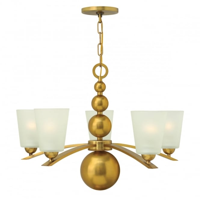 ZELDA vintage brass chandelier with frosted glass shades - 5 lights