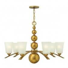 ZELDA vintage brass chandelier with frosted glass shades - 7 lights