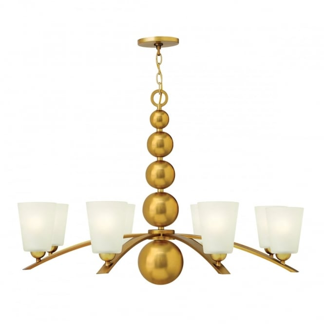 ZELDA vintage brass chandelier with frosted glass shades - 8 lights